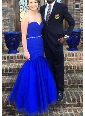 LadyPromDress 2019 Blue Beading Ruching Sweetheart Mermaid/Trumpet Prom Dresses