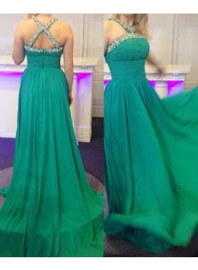 Criss Cross Beading A-Line/Princess Chiffon Prom Dresses