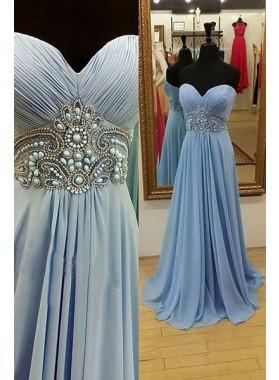 LadyPromDress 2019 Blue Prom Dresses Sweetheart Beading A-Line/Princess Chiffon