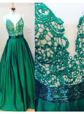 Beading Appliques Spaghetti Straps Satin Dark Green Prom Dresses