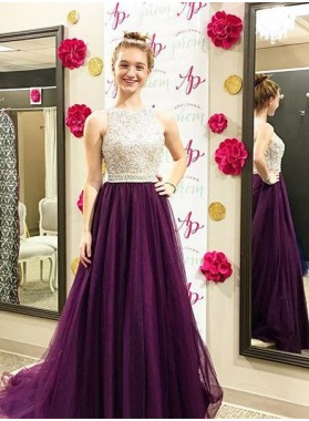 Round Neck Beading Sleeveless A-Line/Princess Tulle Prom Dresses