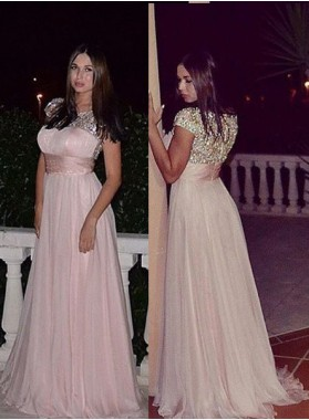 Beading Empire Waist Chiffon 2019 Glamorous Pink Prom Dresses