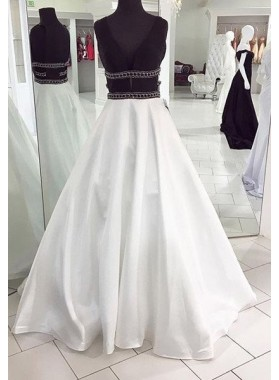 2018 Unique White V-Neck Beading Floor-Length/Long A-Line/Princess Satin Prom Dresses