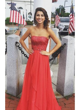 2019 Gorgeous Red Beading Strapless Chiffon Prom Dresses
