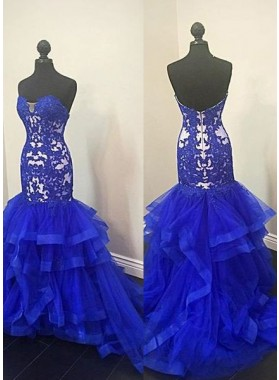 LadyPromDress 2019 Blue Prom Dresses Sweetheart Appliques Layers Mermaid/Trumpet