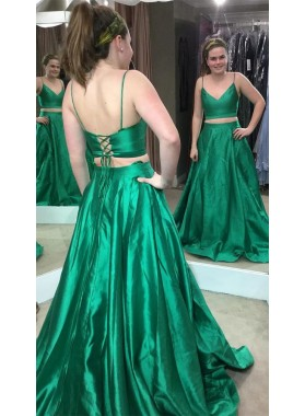 2019 Cheap Princess/A-Line Satin Two Pieces Emerald Prom Dresses