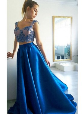 2019 Cheap Two Pieces Royal Blue Sweetheart Satin Prom Dresses