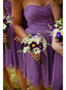2021 Newly A Line Purple Chiffon Sweetheart Short Bridesmaid Dresses / Gowns