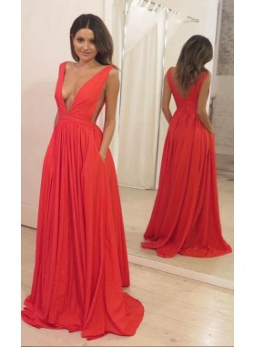 2019 Cheap Princess/A-Line V-neck Chiffon Orange Prom Dresses