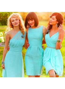 2021 New Arrival A line Turquoise One Shoulder Knee Length Bridesmaid Dresses / Gowns