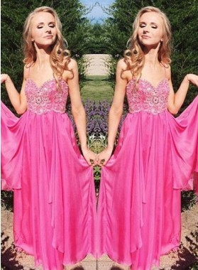 Prom Dresses Spaghetti Straps Appliques A-Line/Princess Chiffon