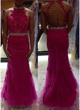 Beading Appliques Halter Tulle Prom Dresses Fuchsia