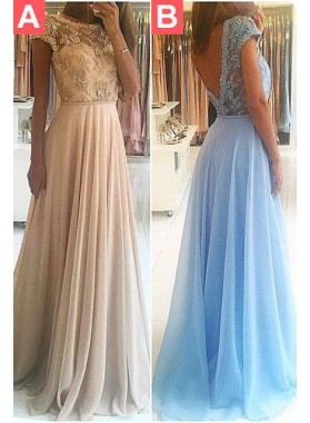 Appliques Backless A-Line/Princess Chiffon LadyPromDress 2019 Blue Prom Dresses