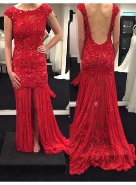 2019 Gorgeous Red Backless Lace Appliques Prom Dresses