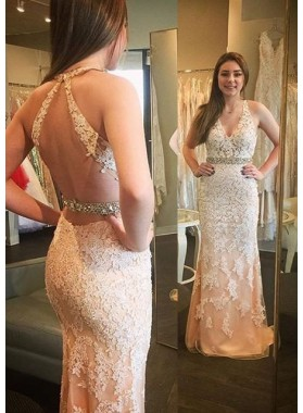 2018 Unique White Beading Appliques Halter Column/Sheath Tulle Prom Dresses