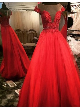 2019 Gorgeous Red Sheer Neck Beading A-Line/Princess Tulle Prom Dresses