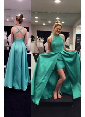 Criss-Cross Front-Slit Satin Prom Dresses