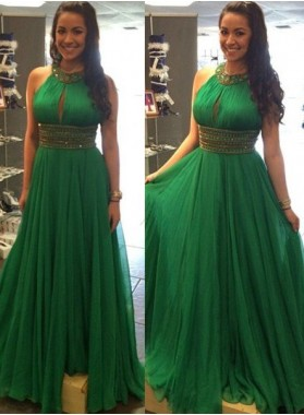 Green Crystal Detailing Halter A-Line/Princess Chiffon Prom Dresses