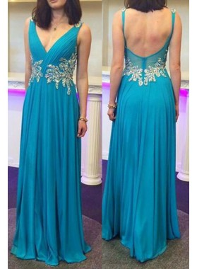 LadyPromDress 2019 Blue V-Neck Open Back Floor-Length/Long A-Line/Princess Chiffon Prom Dresses