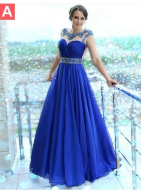 Royal Blue Crystal Capped Sleeves A-Line/Princess Chiffon Prom Dresses