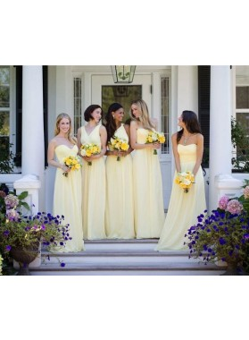2020 Cheap A Line Daffodil Chiffon Strapless Long Bridesmaid Dresses / Gowns