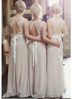 2021 Cheap A Line Chiffon Champagne Long Lace Bridesmaid Dresses / Gowns