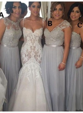 2021 Cheap A Line Silver Chiffon Beaded Long Bridesmaid Dresses / Gowns