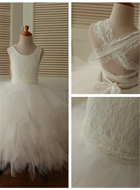 Ball Gown Scoop Sleeveless Lace Floor-Length Organza First Communion Dresses / Flower Girl Dresses