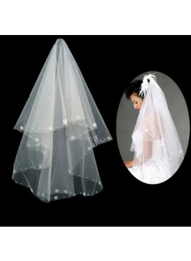 Elegant Elbow Wedding Veil With Embroidery Beading