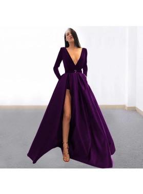 2019 Charming A-Line/Princess V-neck Side Slit Long Sleeve Purple Prom Dresses
