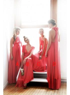 2020 Cheap A Line Chiffon Water Melon One Shoulder Long Bridesmaid Dresses / Gowns