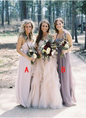 2020 New Arrival Purple A Line Strapless Chiffon Long Bridesmaid Dresses / Gowns