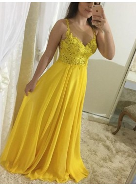 2021 Cheap Princess/A-Line Daffodil Chiffon Sweetheart Prom Dresses