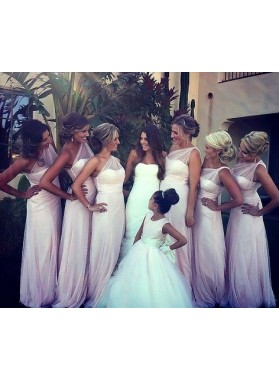 2020 Cheap A Line One Shoulder Pearl Pink Tulle Long Bridesmaid Dresses / Gowns