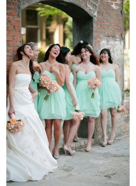 2021 Cheap A Line Mint Sweetheart Knee Length Bridesmaid Dresses / Gowns