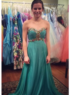 Beading Empire Waist A-Line/Princess Chiffon Hunter Prom Dresses