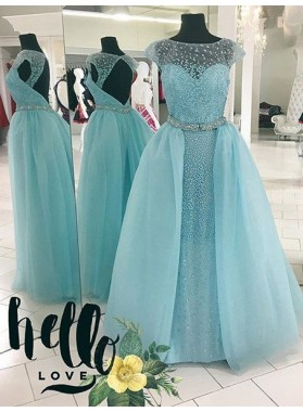 LadyPromDress 2019 Blue Delicate Crystal Detailing Ball Gown Tulle Prom Dresses