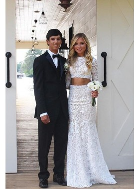 2020 Unique White Long Sleeve Mermaid/Trumpet Lace Two Pieces Prom Dresses