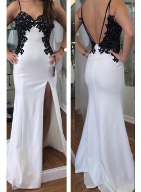 2018 Unique White Appliques Spaghetti Straps Front-Slit Satin Prom Dresses
