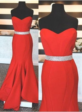 2019 Gorgeous Red Beading Sweetheart Mermaid/Trumpet Satin Prom Dresses