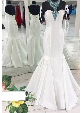 Beading Floor-Length/Long Halter Mermaid/Trumpet Satin Prom Dresses