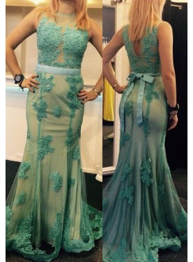 Appliques Round Neck Mermaid/Trumpet Tulle LadyPromDress 2018 Blue Prom Dresses