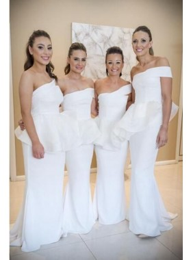 2021 New Arrival White Mermaid One Shoulder Satin Long Bridesmaid Dresses / Gowns