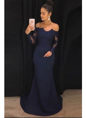 2019 Siren Mermaid/Trumpet Long Sleeves Dark Navy Satin Prom Dresses