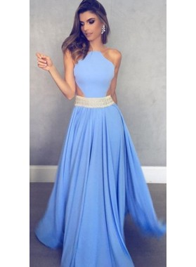 2019 Charming Princess/A-Line Chiffon Floor Length Backless Prom Dresses