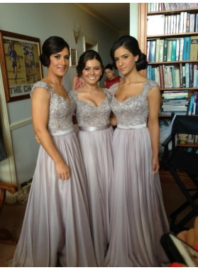 2021 Cheap A Line Gray Satin Beaded Long Bridesmaid Dresses / Gowns