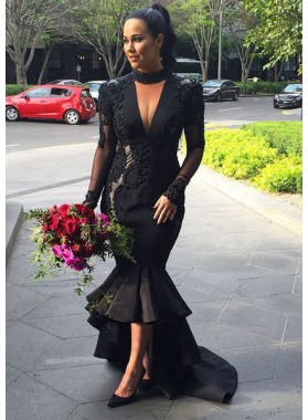 2018 Junoesque Black Puffy High-low Sheer Sleeves Mermaid/Trumpet Prom Dresses