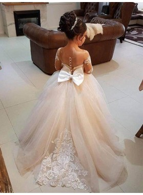 Ball Gown Long Sleeves Off-the-Shoulder Sweep/Brush Train Applique Tulle First Communion Dresses / Flower Girl Dresses
