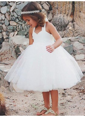 A-Line/Princess Sleeveless Halter Tea-Length Ruffles Tulle First Communion Dresses / Flower Girl Dresses