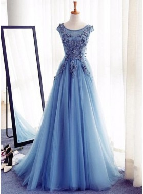 LadyPromDress 2019 Blue Flowers Floor-Length/Long Lace Up A-Line/Princess Tulle Prom Dresses
